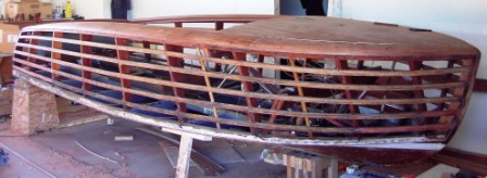 Peterson boat works wooden boat restoration on site Shepherds motors